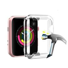 Case for apple watch 4 band 44mm/40mm Iwatch band 42mm/38mm Screen protector case silicone soft All-around Ultra-thin Cover 3/2 protector cover for apple watch case 3 2 1 iwatch 42mm 38mm all around ultra thin screen protector case soft silicone shell