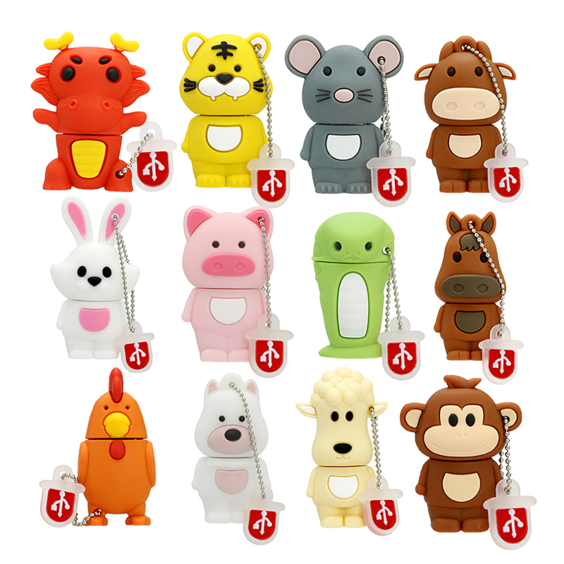 Chinese Zodiac Signs USB Memory Stick 4 8 16 32 64 128 256 Gb Pendrive 256GB 32GB 8GB USB Flash Drive Dog/Pig/Tiger/Rabbit Gift