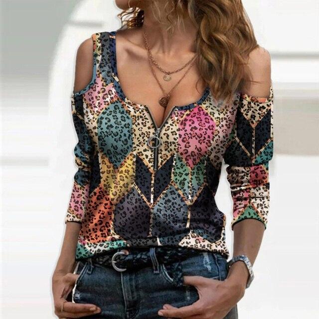 Blusa holgada informal con manga larga para verano, camisa Sexy con estampado Floral y hombros descubiertos para mujer, cuello de pico profundo, 2021 4