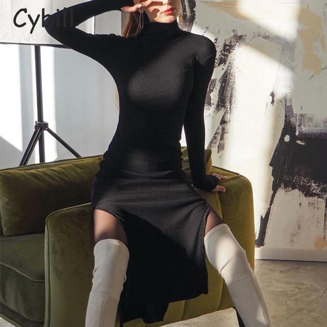 Cybill Long Sleeve Turtleneck Midi Dress Split Autumn Winter Ribbed Knitted Dress Casual Red Black Dresses Women 1