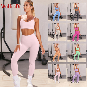Wohuadi roupa feminina sem costura sutiã esporte conjunto ginásio treino yoga terno de fitness superior + cintura alta leggings push up feminino