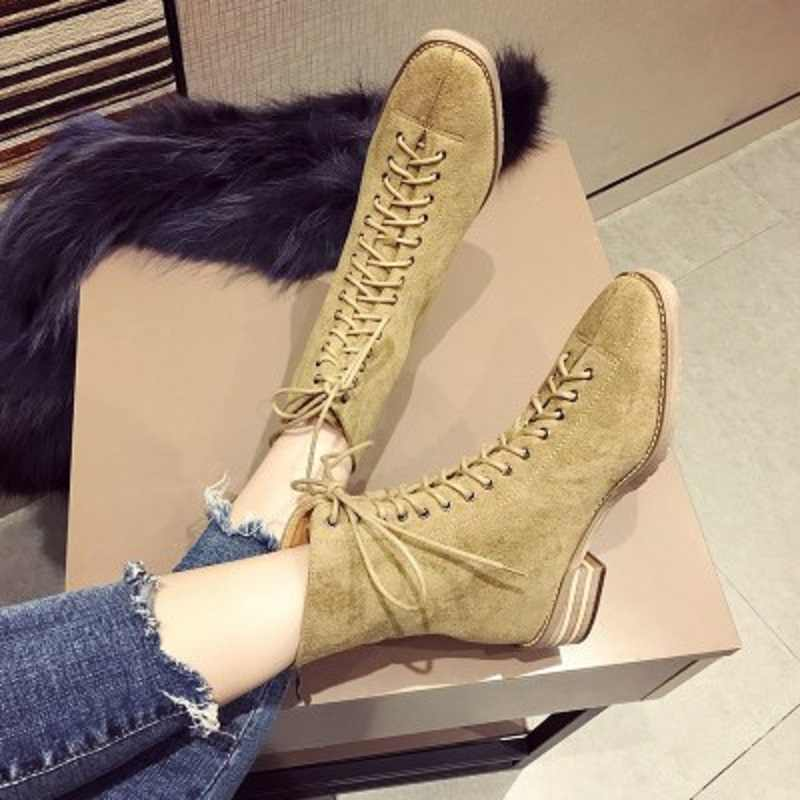 2019 sonbahar ve kış yeni moda vahşi dantel düz çizmeler kısa çizmeler Martin çizmeler kadın ayakkabısı gelgit artı kadife pamuklu ayakkabılar