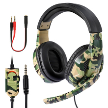 New 3.5mm Camouflage Gaming Headphone Professional Gaming Stereo Head mounted For PS4 PS3 Xbox Switch Headset Computer Earphones