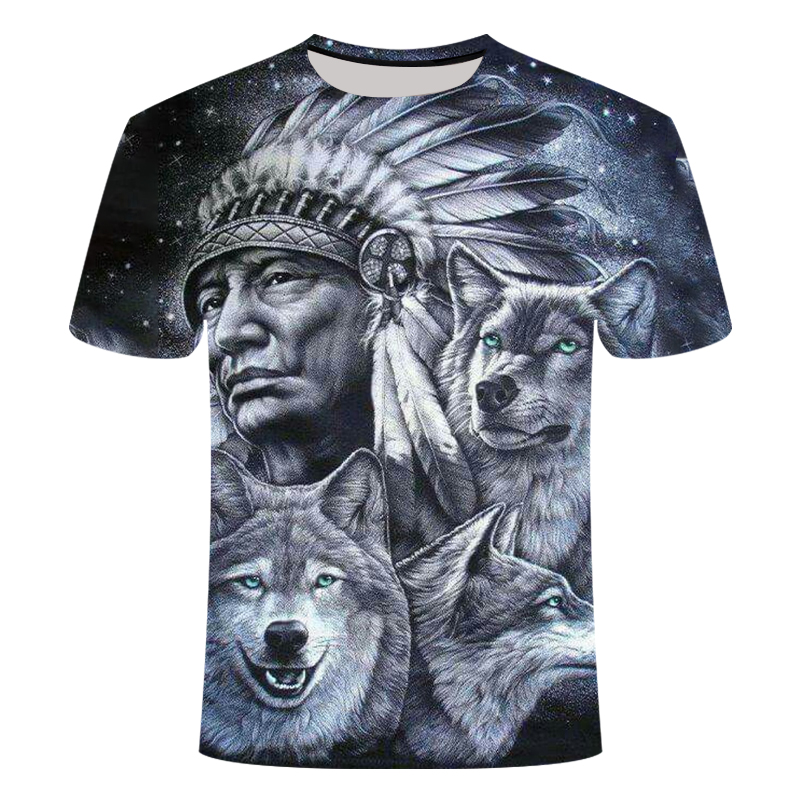 3d Indians Wolf Print Fashion Brand T Shirts O Neck Short Sleeves Cotton Wolf Men T-shirt Casual Man Tees Mens Tops