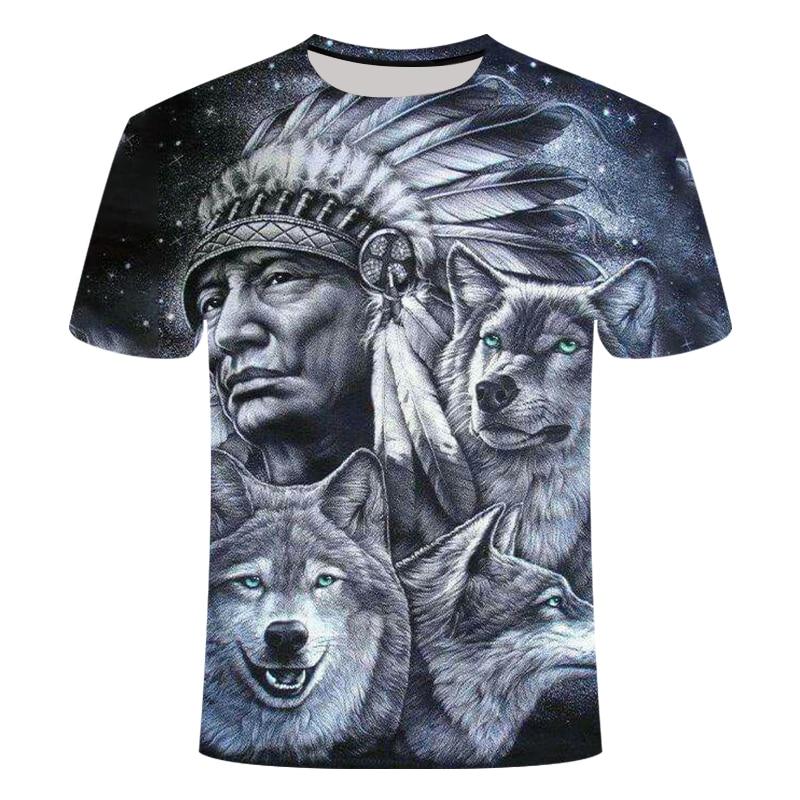 Indianer Funshirt USA Western S-6XL AIM00121 Fun T-Shirt Wolf Dreamcatcher