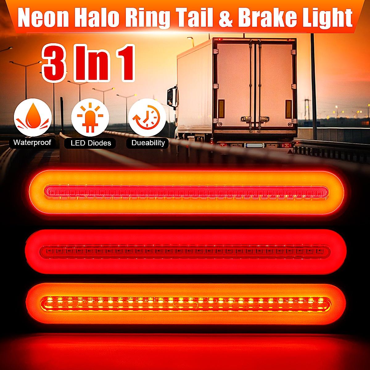 Waterproof LED Trailer Truck Brake Light 3 In 1 Neon Halo Ring Tail Brake Stop Flowing Turn Signal Light Lamp Blinker 12V-24V
