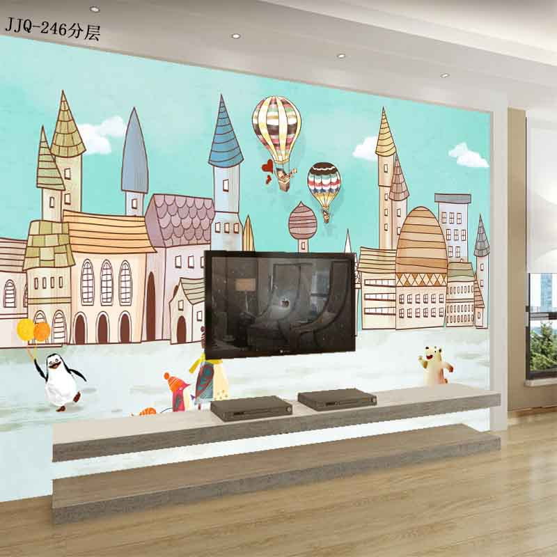 CHILDREN'S Room Cartoon Animation Hot-air Ballon City Wallpaper Bedroom Wall Mural Seamless Wall Covering Fabric