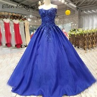African Royal Blue Prom Dresses Long For Arabic Muslim 3D Flowers Satin Off Shoulder Lace up Quinceanera Pageant Ball Gowns 2019