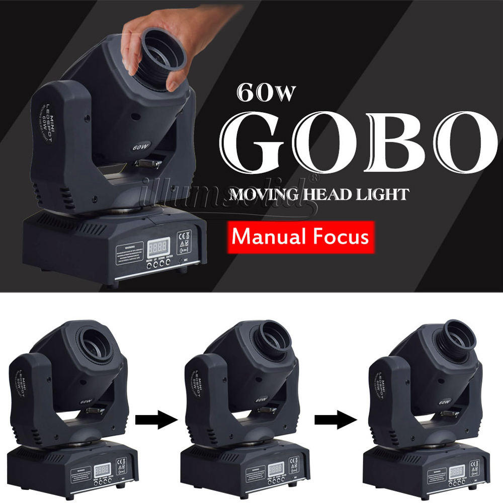 Image 5 - moving 60w LED Moving Head gobo Light led dmx 512 control dj diso moving head light(4 pieces/lot)Stage Lighting Effect   -