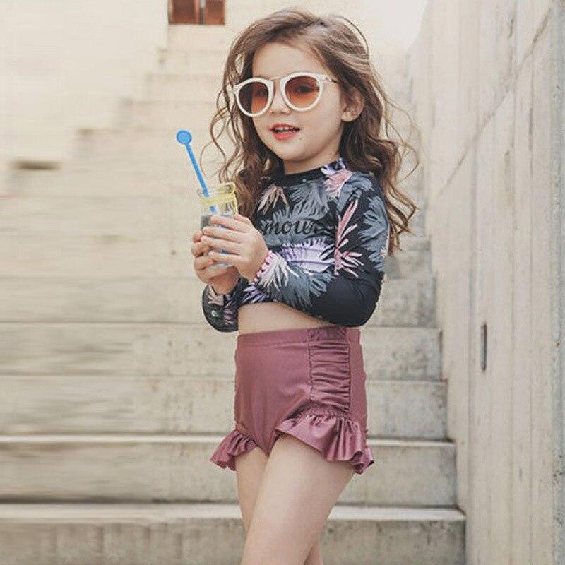 Children's Swimwear Baby Bikini 2020 Clothes Swimsuit For Clothing Female Child New Children Lovely Princess Long Sleeve Drying