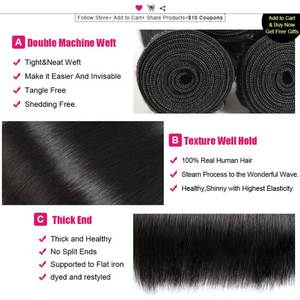 Image 4 - Ishow Straight Hair Bundles with Closure Peruvian Hair Bundles with Closure Human Hair Bundles and Closure for 4x4 Closure Wig