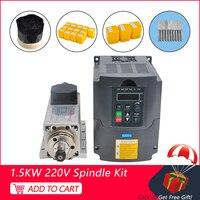 CNC Spindle 1.5KW 220V Square Air Cooled Spindle ER11 Milling Motor 220V 1.5KW VFD Inverter Controller For Engraving T