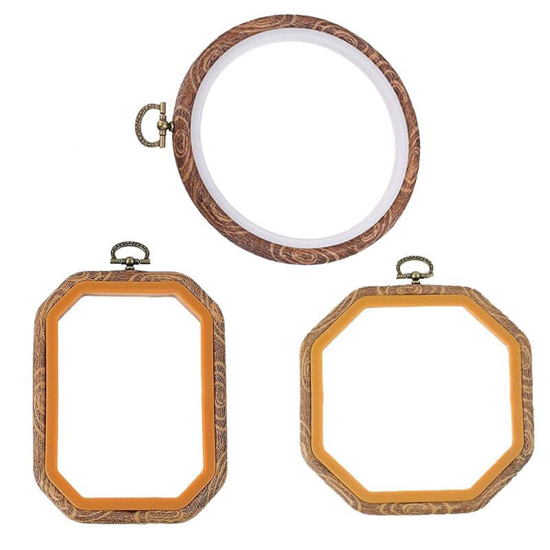 3 PCS Embroidery Hoops Cross Stitch Hoop Bulk Imitated Wood Embroidery Sets (1 Circle+1 Octagon+1 Rectangle)