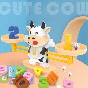 Montessori Children's Toys Tianping Cattle Math Animal Match Balancing Scale  Learning Educational Toys Montessori Balance Games