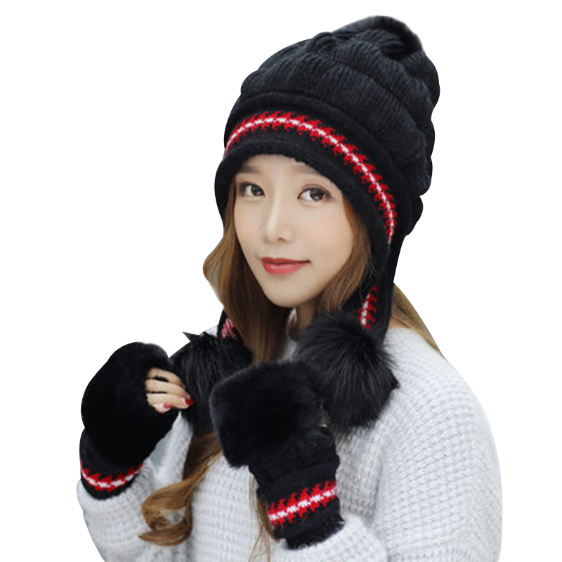 Fashion Women Knitted Hat Gloves Set Xmas Warming Beanie Hat Full Cover Glove Kit For Winter TC21