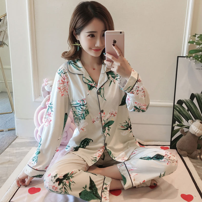 Liang Xing-Autumn & Winter Long Sleeve Pajamas Less Women's Cute Tracksuit Cardigan Double-Sided Qmilch M-XXL