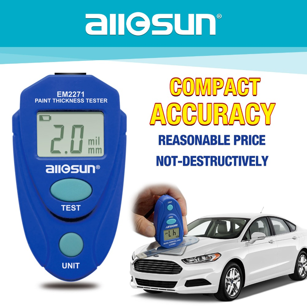 Fdit Mini Thickness Gauges Digital Handheld Car Coating Gauge Meter Testing Instrument for Automotive Range 0mil to 80mil or 0.0 to 2.0mm