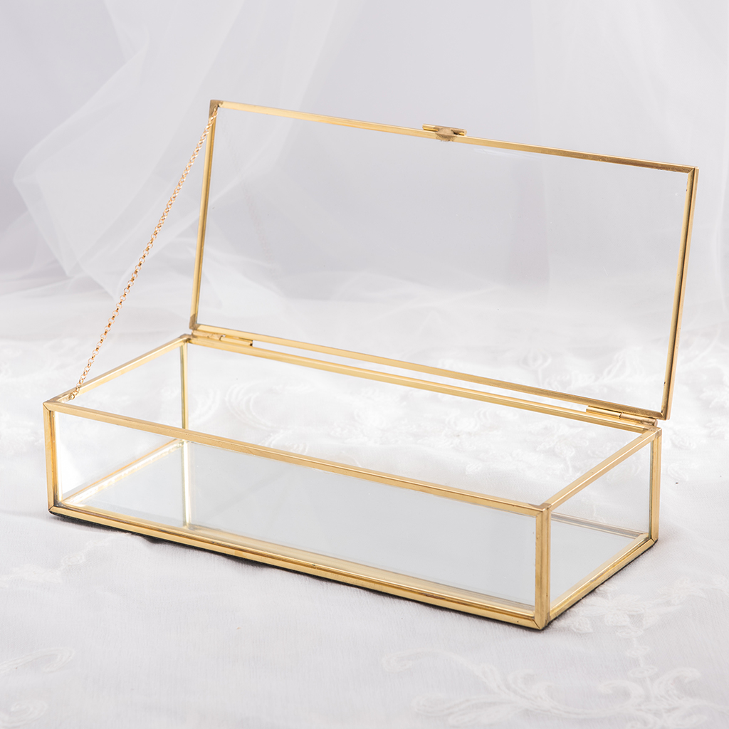 Geometrical Clear Glass Jewelry Box  Nordic Retro Jewelry Trinket Storage Box Holder Container For Ring Display Case