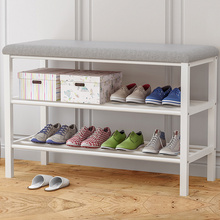 1Pc Shoe Organizer Home Space-saving Shoe Rack Change Shoes Bench Multi-tier Easy Assembly Shoes Cabinet Multi-functional Grey