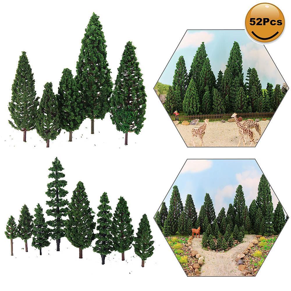 52 шт. модель сосны зеленые сосны пластик для леса O HO TT N Масштаб Модель железнодорожная макет миниатюрные пейзажи S0901