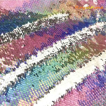 Double Face Sequins Fabric For Handbags Garments DIY Tissue Sewing Fabric Material Craft Making Accessories-Light Rainbow/Silver image