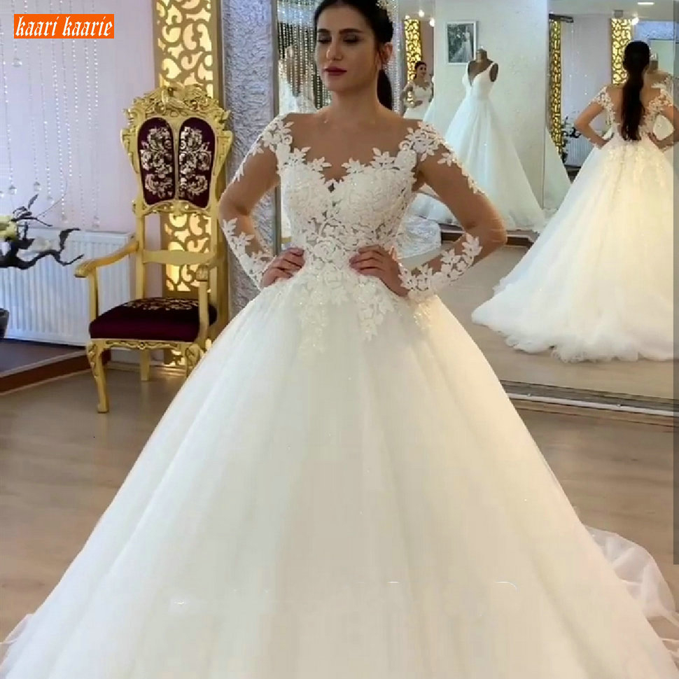 Delicate 2020 White Wedding Dress Long Sleeves Appliqued Lace Tulle Marry Wedding Gowns Zipper Button Custom Made Bridal Dresses