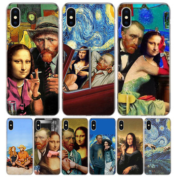 Van Gogh Mona Lisa Funny Art Phone Case For Apple IPhone 11 12 Pro Mini XR X XS Max 7 8 6 6S Plus + 7G 6G 5 SE 2020 Luxury Patte image