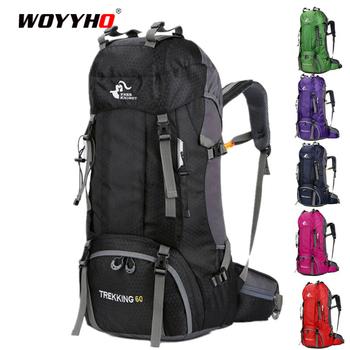 Darmowy rycerz 60L plecak wodoodporny o dużej pojemności plecaki górskie plecak Sport Travel Trekking Camping torby wspinaczkowe tanie i dobre opinie WOYYHO CN (pochodzenie) 81426 Unisex Military Outdoor Backpack Bag Miękka osłona NYLON 60L HiKing Backpack 68*33*20 cm