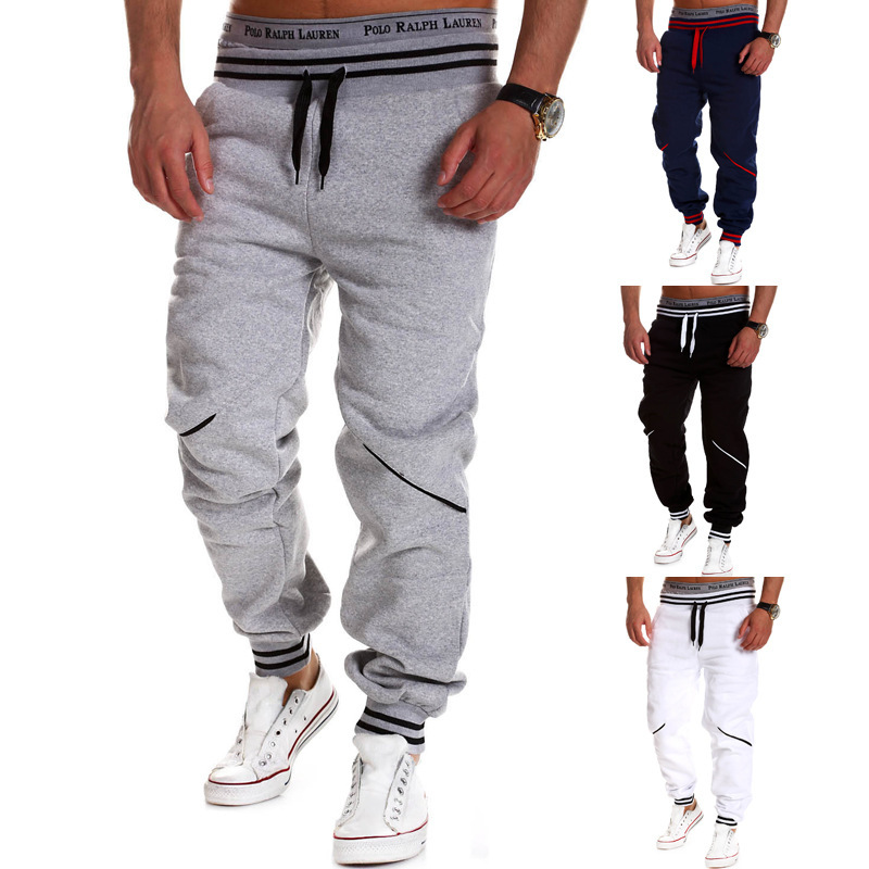 New Style Casual Pants Men Western Style Casual Contrast Color Joint Gymnastic Pants 8755