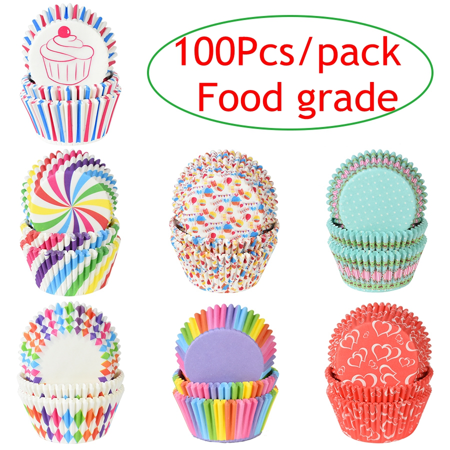 100Pcs Muffin Cake Wrapping Cups Paper Event Party DIY Kitchen Baking Cake Place Mould Cupcake Cake Dessert Oilproof Box 7cm