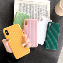 Fashion Cute Trunk Suitcase Texture Phone Case For iPhone X XS Max XR Solid Color TPU Silicone Cover for 8 7 6 6S Plus