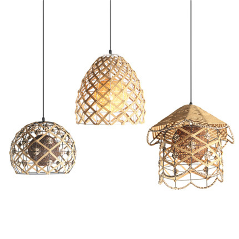 Bird's Nest Type Hemp Ball Art Chandelier Dining Room Lamp Bar Lamp Spherical Table Lamp Rattan Woven Lamp