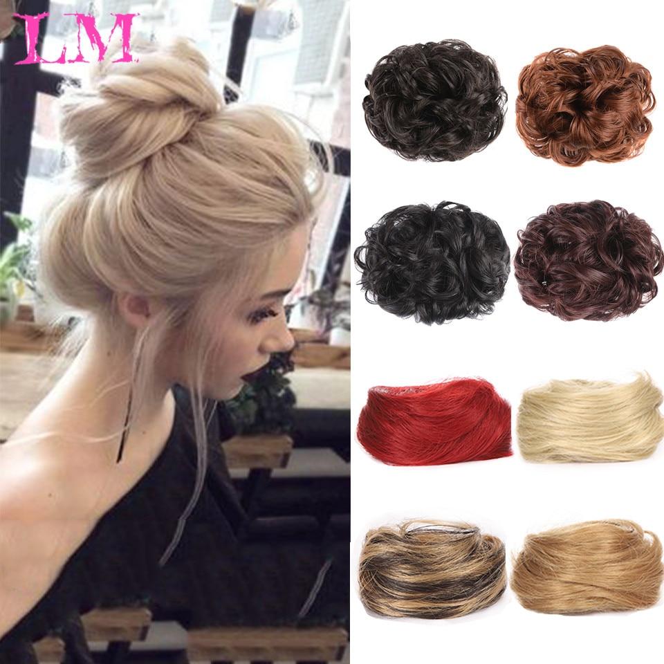 LM женские пучки для волос, синтетический кудрявый шиньон с эффектом омбре, пучок для волос, пучок для волос, зажим для волос для женщин