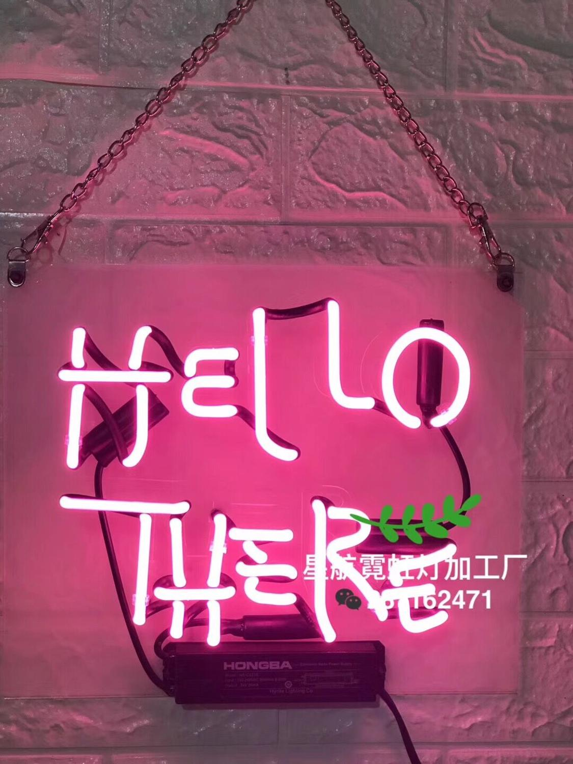 New HIGH LIFE Beer Neon Sign Bar Sinal de Vidro Real Luz Neon Beer Sign With Hello There