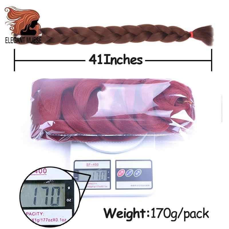 Musas elegantes 165g trenzado de pelo largo de ganchillo pelo a granel 82 pulgadas extensiones de cabello trenzado sintético para mujeres negras