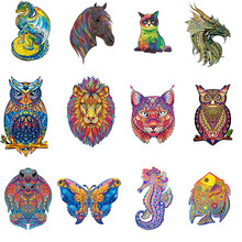 Wooden Puzzle Animals Fox Cat Lion Wolf Puzzle Toy Each Piece Is Cartoon Animal Wooden Jigsaw Puzzle For Adults Kids Toys