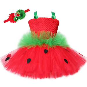 Image 1 - Cute Strawberry Tutu Dress Red Green Tulle Flowers Princess Girls Birthday Party Dress Children Kids Christmas Halloween Costume