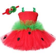 Vestido con tutú de fresa para niñas, vestido de tul rojo y verde con flores para fiesta de cumpleaños, disfraz de Navidad y Halloween