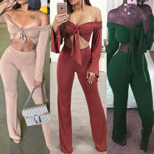Women Casual Long Sleeve Bandage Off Shoulder Crop Top Solid Color Long Pants Trousers Set Two Piece Outfit Playsuit off the shoulder checked long sleeve crop top