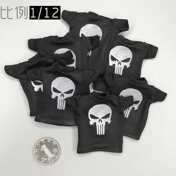 1/12 Soldier 6-inch Doll Short Sleeve Punisher T-shirt fit CF DAM 3ATOYS Action Figure Doll full set action figure damtoys dam 780562 1 6 chinese peacekeeper pla in un peacekeeping operations