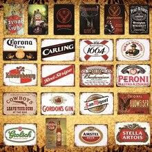 [Luckyaboy] Retro whisky cerveza Metal estaño signos cartel Vintage Pub casa Hotel Bar Club tienda de café decoración AL019