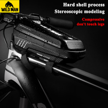 цена на WILD MAN Waterproof MTB Bicycle Bag Phone TPU Touch Screen MTB Bike Bags Front Top Tube Frame Storage Case Cycling Accessories