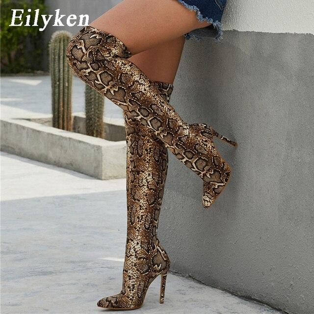 Eilyken เสือดาวงูยาวรองเท้าผู้หญิงส้นสูง BOOT Pointed Toe เซ็กซี่คลับรองเท้าต้นขาสูงกว่า รองเท้าบู๊ตเข่า