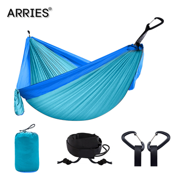 Nylon Double Person Hammock Adult Camping Outdoor Backpacking Travel Survival Garden Swing Hunting Sleeping Bed Portable Hammock 5