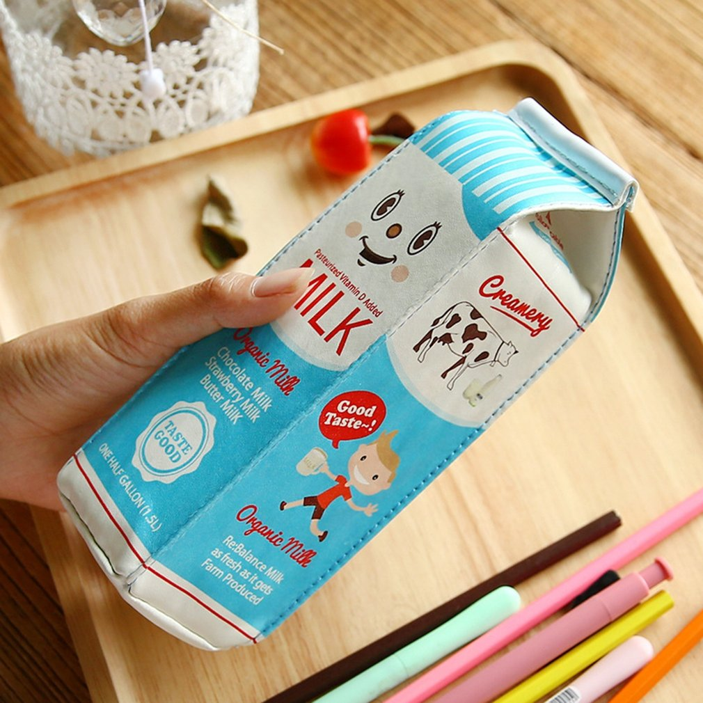 Korean Creative Cute Pencil Bag Fun Simulation Milk Pencil Bag Student Storage Coin Purse Pencil Case