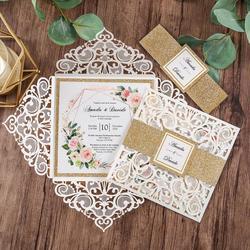 1 peça borgonha, prata, branco, ouro e cartões de convite do casamento do corte do laser do azul marinho com borda e envelope do brilho do ouro