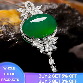 Original S925 Sterling Silver Womens Necklace Corundum Pendant Jade Turquoise Collarbone Jewelry Gemstone Bizuteria