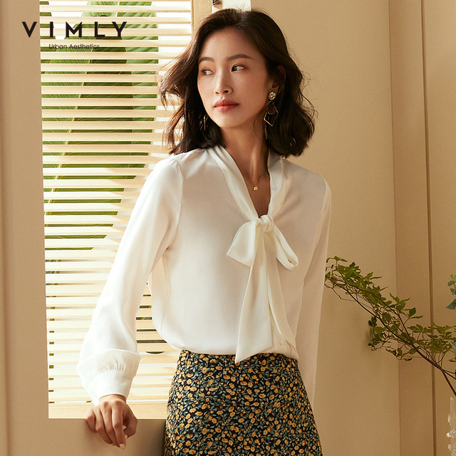 Vimly Office Ladies Elegant Women Blouse Fashion Bow Long Sleeve Formal Shirt 2020 Vintage Blusas Femininas F5795 1