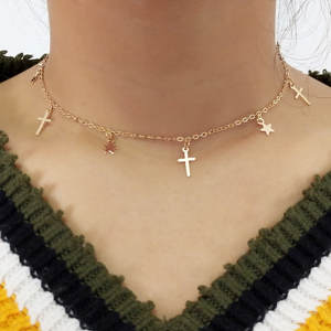 Bohemian Cute Star Cross Choker Necklace for Women Gold Silver Color Clavicle Chain 2020 Fashion Female Chocker Jewelry