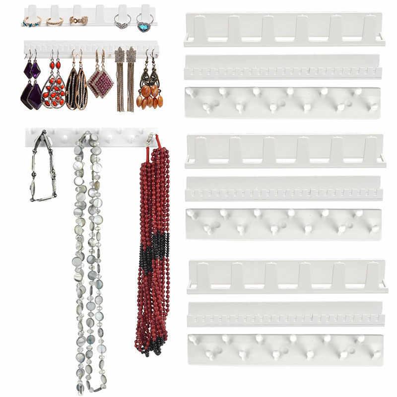 9 ב 1 דבק קיר תליית מדף תכשיטי שרשרת טבעות עגילי מפתחות דוכן תצוגת Rack מחזיק ארגונית Rack ווים דביקים